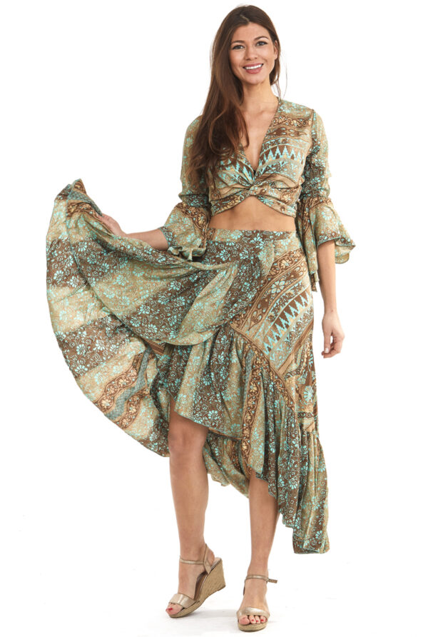 ibiza set top en rok zijde