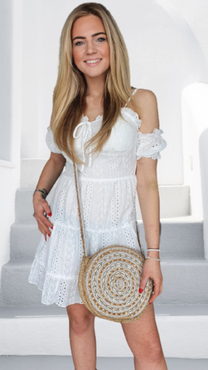 jurk wit schouderloos