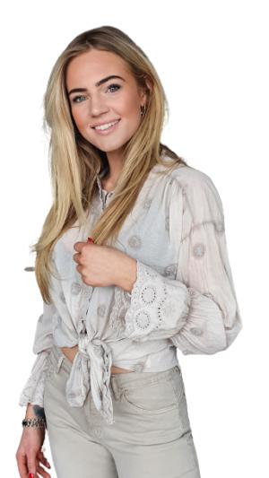 blouse beige katoen