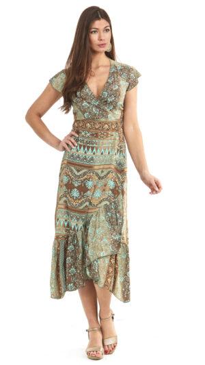 ibiza zijde wikkel jurk