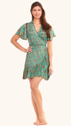 zijde ibiza overslag jurk